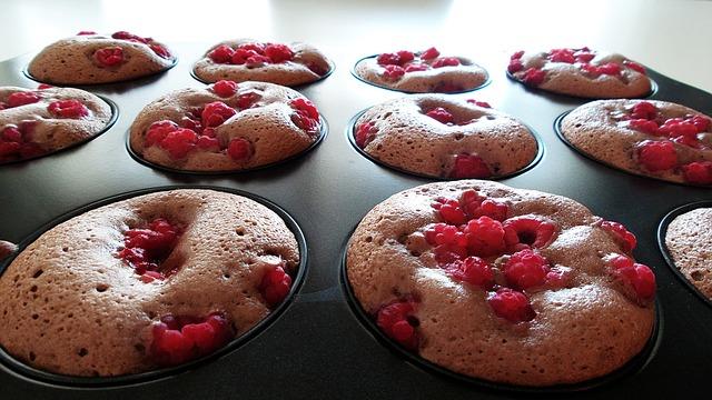 malinový muffin bez mléka