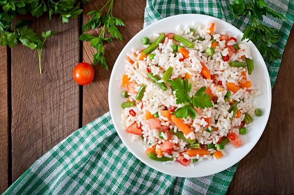 rýže s fazolemi a mrkví