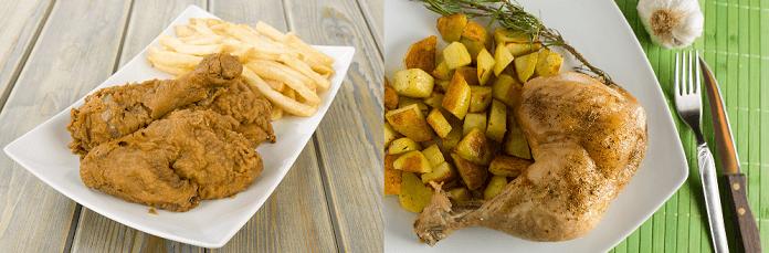 smažené kuře s hranolky vs. grilované kuře s pečenými brambory