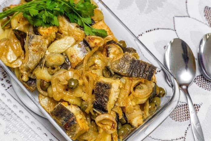 pečená treska s pečenou zeleninou