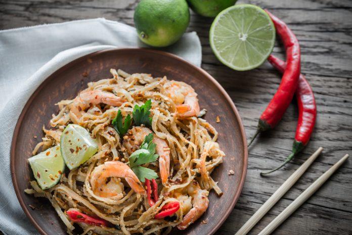 rýžové nudle s krevetami