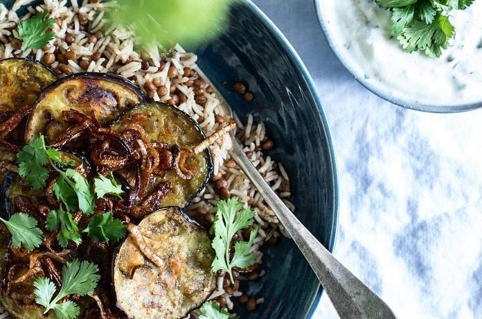 Basmati rýže s čočkou a pečeným lilkem