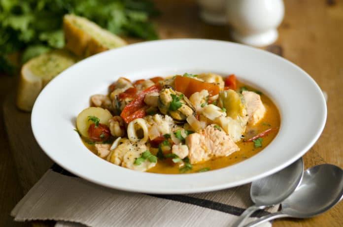 zeleninová polévka s treskou
