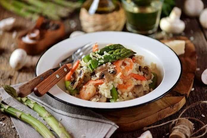 zeleninové rizoto s krevetami